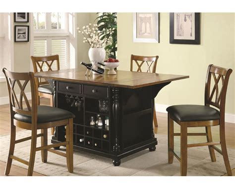kitchen island table in two tone coaster co dining coaster two tone kitchen island set kitchen carts co