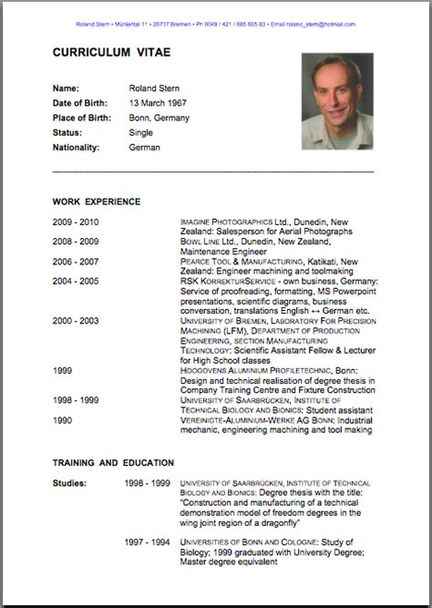 Curriculum Vitae In English by Curriculum Vitae English Images
