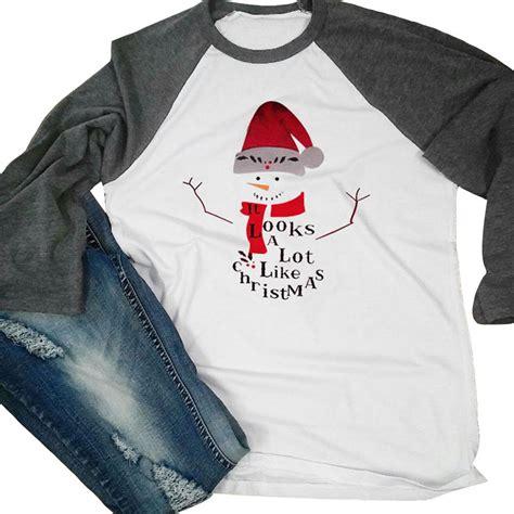 Letter 3 4 Sleeve T Shirt sale sale t shirt snowman letter printed