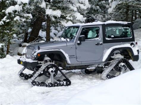 jeep snow tracks dominator track system turns your car into a snowmobile