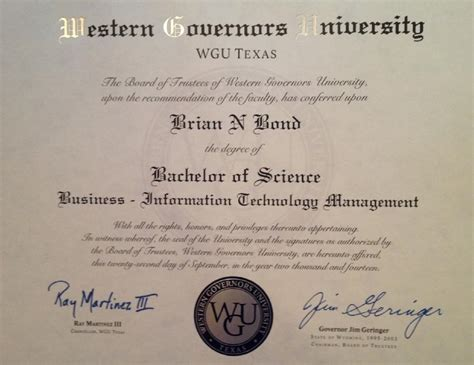 Western Governors Mba Healthcare Management by Certifications Brian Bond Boerne