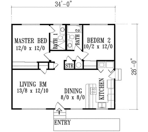 2 bedroom ranch floor plans ranch style house plan 2 beds 2 baths 952 sq ft plan 1 1139
