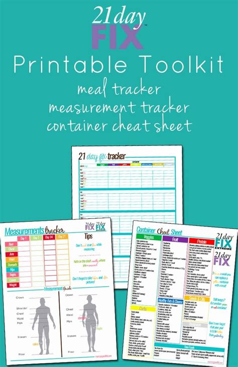 printable meal planner for 21 day fix 21 day fix printable tools measurement tracker meal