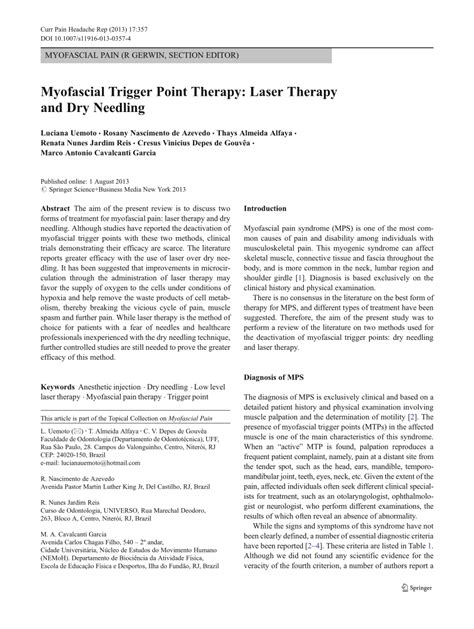 Laser Therapy Trigger Points Detox by Myofascial Trigger Point Therapy Laser Pdf
