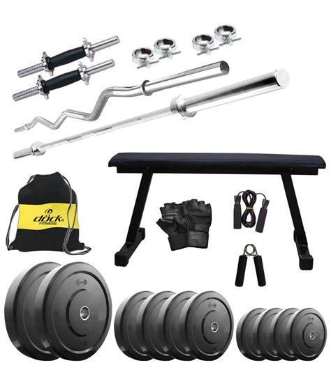 dock 35 kg home set with dumbbell rods flat bench 2