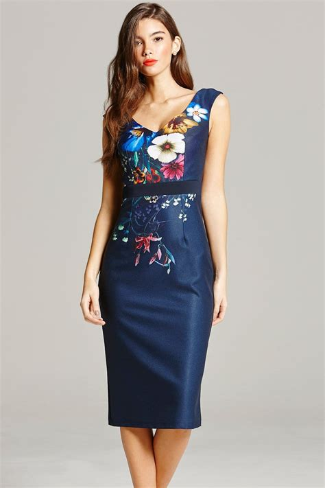 Navy Print navy floral print wiggle dress from uk