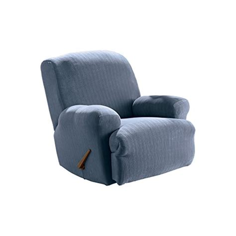 blue recliner covers sure fit stretch pinstripe 1 recliner slipcover