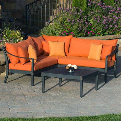 orange patio rst brands astoria 4 patio sectional seating set