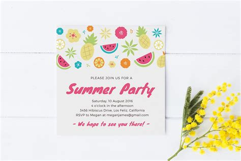 summer party invitation template invitation templates on