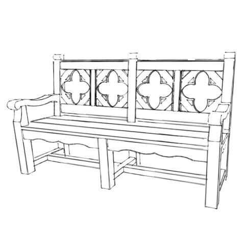 bench cl medieval style garden bench sketch