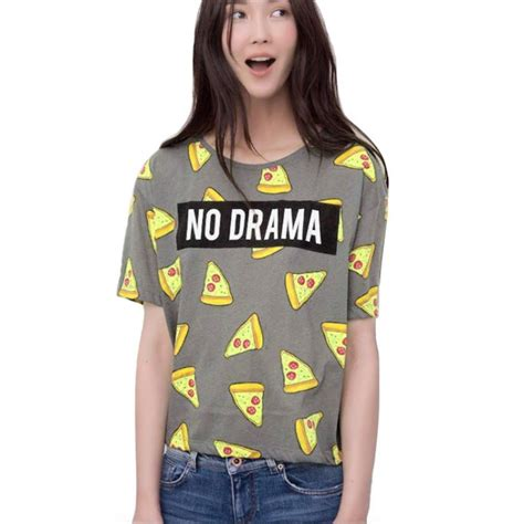 Tshirt No Drama April Merch t shirt pizza no drama letters print sleeve tops shirts casual camisas