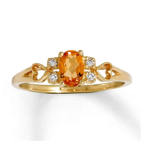 Citrine Rings by Jared Citrine Ring 1 20 Ct Tw Diamonds 10k Yellow Gold