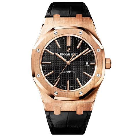 audemars piguet royal oak 18k rose gold black dial watch