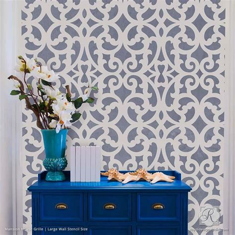 Moroccan Wall Mural large exotic trellis wall stencils for diy painting