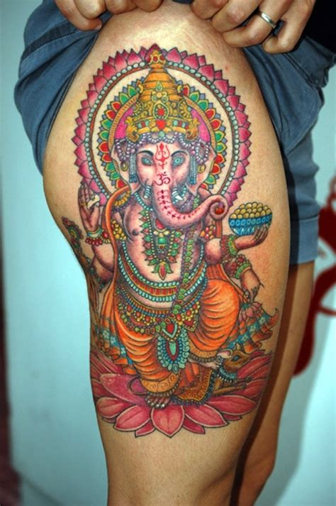 ganesha tattoo on girl 40 secret thigh tattoos that nobody will ever see