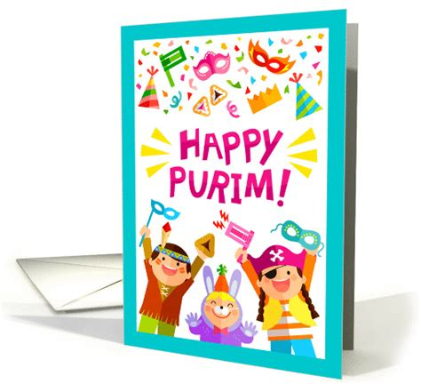 purim printable greeting cards happy purim kids and holiday symbols card 1426756