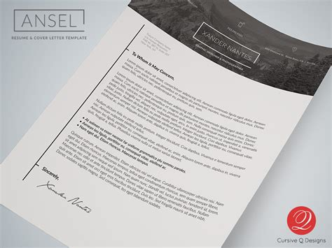 photoshop template letter ansel resume and cover letter template cursive q designs