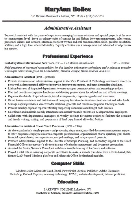administrative assistant resume summary exles administrative assistant resume exle sle