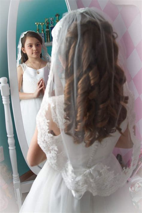 pictures of childrens hair with communion veil flower girl veil lace veil first communion veil by