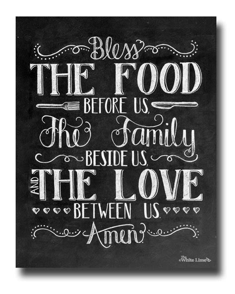 kitchen art dining room art bless food chalkboard sign family art print chalk art print kitchen chalkboard sign rustic