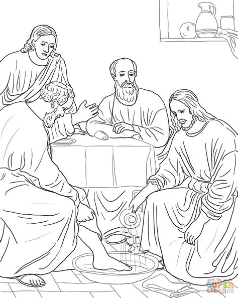 jesus washing the disciples feet coloring page free
