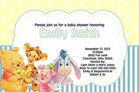 Free Printable Winnie The Pooh Baby Shower Invitations by Winnie The Pooh Baby Shower Free Printable Baby