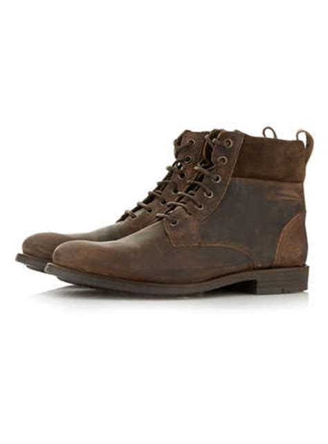 mens boots topman topman brown leather cuff boots in brown for lyst