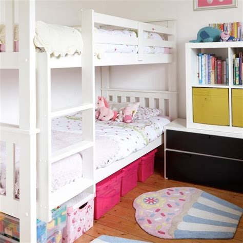 small children s room with smart bunk bed storage small