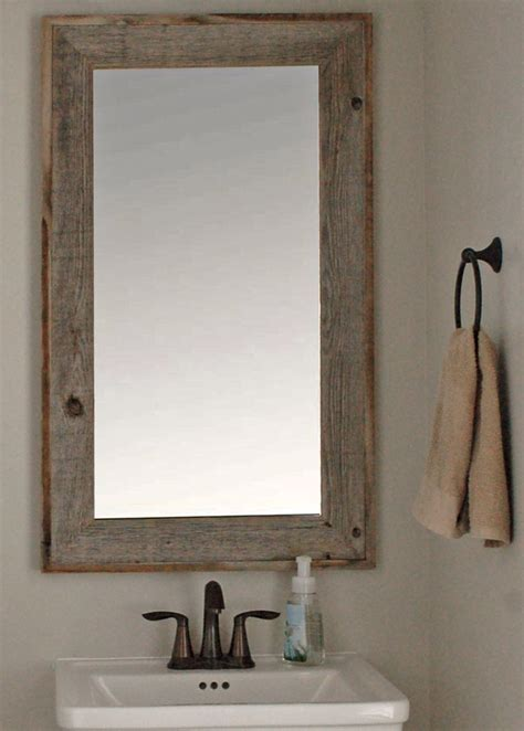 rustic bathroom mirror lighthouse barnwood mirror with raised edge 26x30