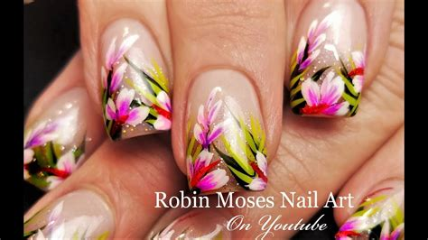 hibiscus nail art tutorial tropical nails holo glitter hibiscus nail art design
