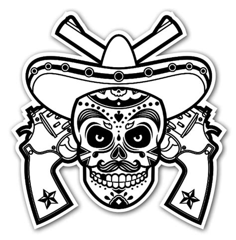 Wall Sticker Mirror calavera mexicana en blanco y negro stickerapp