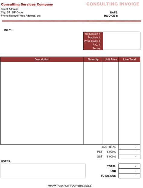 consultant bill format in excel joy studio design