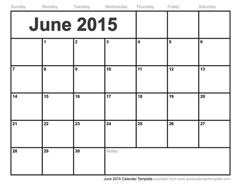 Easy Calendar Template by June 2015 Calendar Template