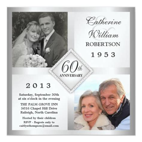 60th anniversary invitations templates 60th silver diamond anniversary photo invitations zazzle
