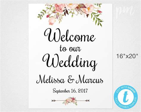Welcome Wedding Sign Template Wedding Welcome Sign Welcome Wedding Signs Pinterest Wedding Free Wedding Sign Templates