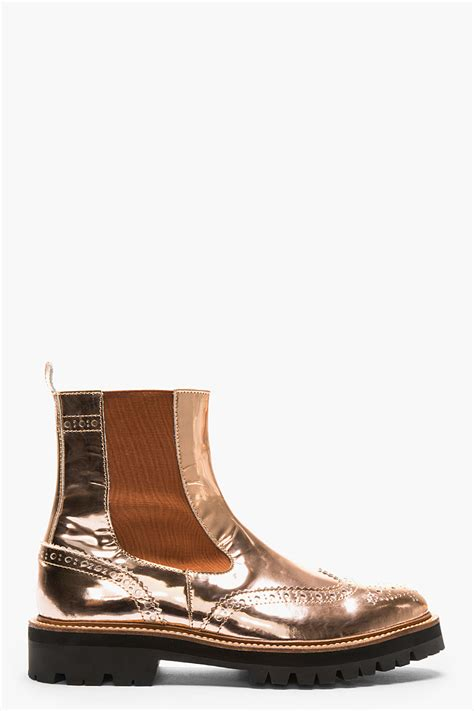 patent leather mens boots juun j copper patent leather chelsea wingtip brogue boots
