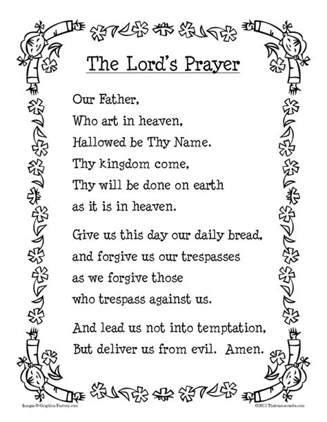 printable version of the lord s prayer our father printable prayer sheet in b w that resource site