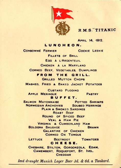 titanic menus lunch menu from the last night on the titanic from