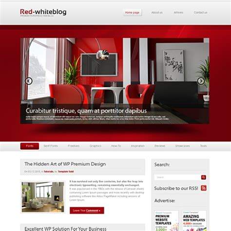 Themes Wordpress Red | redwhite wordpress theme wp personal creative