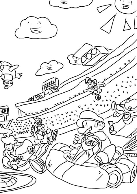 Favour In Fun Mario Kart Colouring Pages Mario Kart 7 Coloring Pages