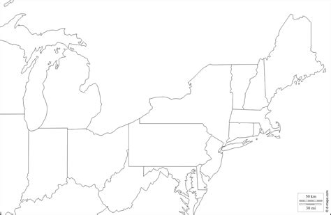 blank map of eastern united states and canada outline map of eastern america world maps