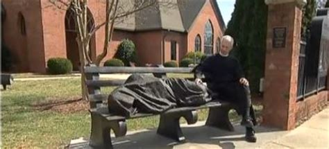 homeless jesus on park bench homeless jesus statue sleeping on a park bench in north