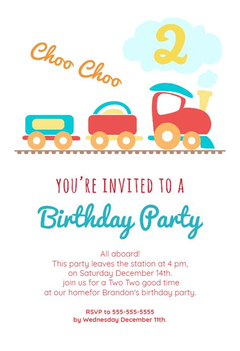 2nd Birthday Party Train Free Birthday Invitation Template Greetings Island 2nd Birthday Invitations Templates Free