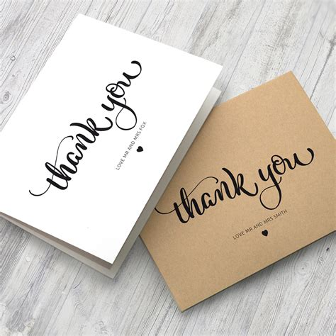 Wedding Thank You Card Working 10 x personalised wedding thank you cards folded format
