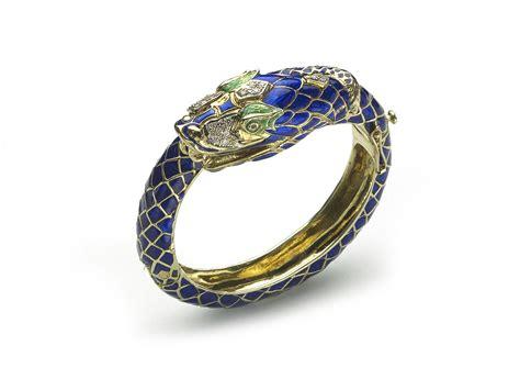 Robert Cavallis Enamel Serpent Bangle by Enamel Gold Snake Bangle Bracelet Jewellery