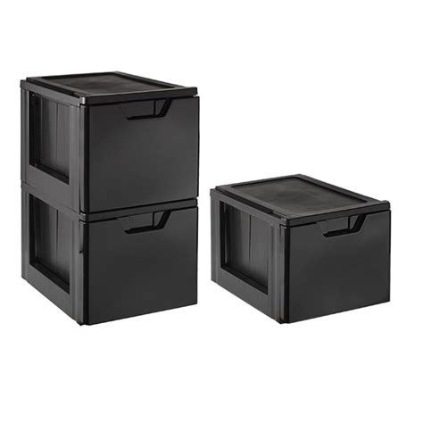 Black Storage Drawers by Black Stackable Storage File Drawer The Container Store