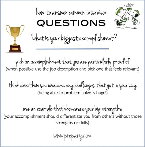 common questions what is your accomplishment the prepary