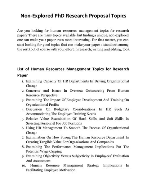 resources for a research paper discover human resources management topics for research