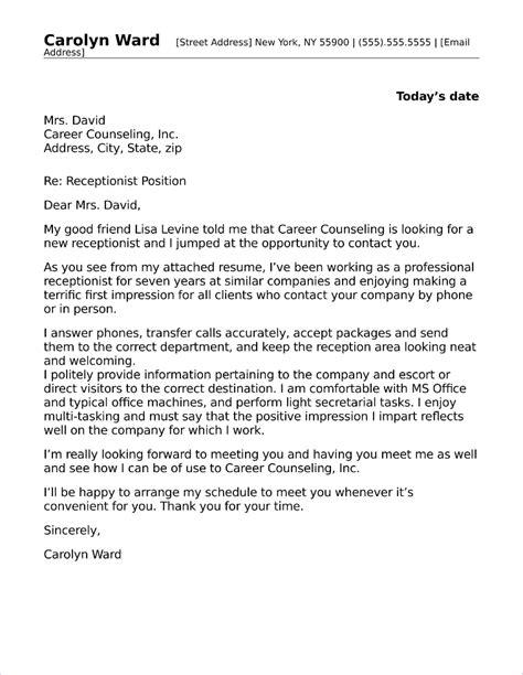 receptionist cover letter sample