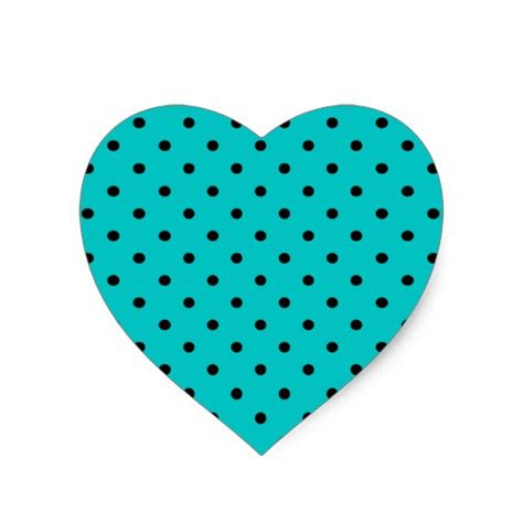 dot pattern heart teal and black polka dot pattern heart sticker zazzle